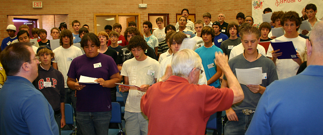 Connie Keil and The Eastsiders Quartet instruct the boy's chorus
